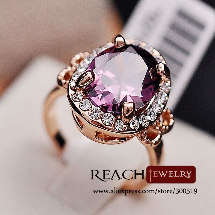 K8023 Fashion 18K Rose Gold Plated Purple Big Zircon Stone Rings