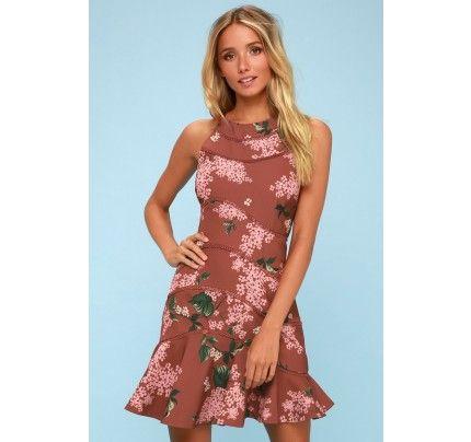 6eb1512b27c Wild Thoughts Light Burgundy Floral Print Mini Dress - Lulus ...