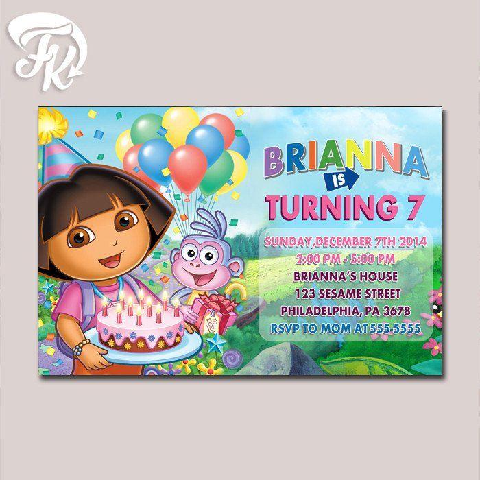 Dora Explorer Birthday Party Card Digital Invitation Kid