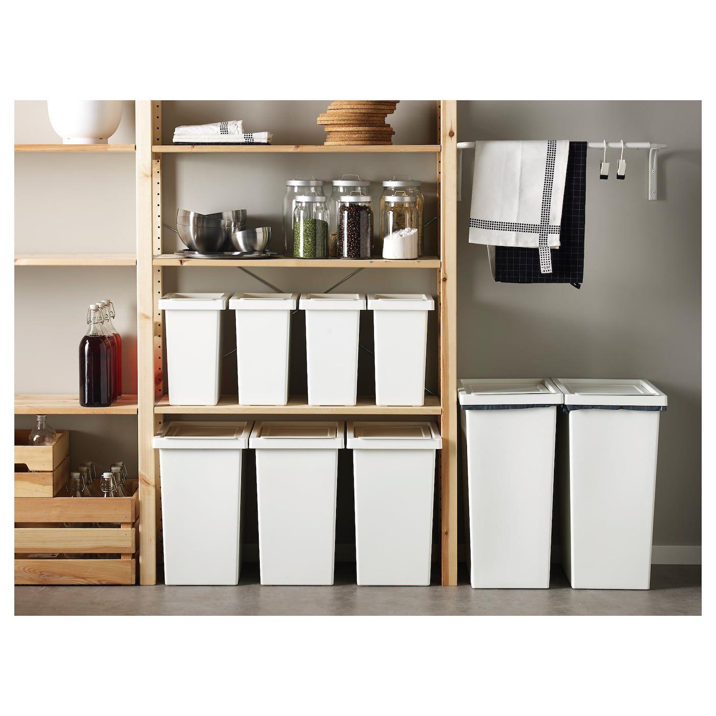 Filur Bin With Lid White Ikea Ikea Recycling Bins Kitchen Diy Pantry Organization