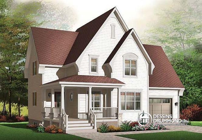 W2685 - Plan de maison champêtre à étage avec garage, 3 chambres - site pour plan de maison