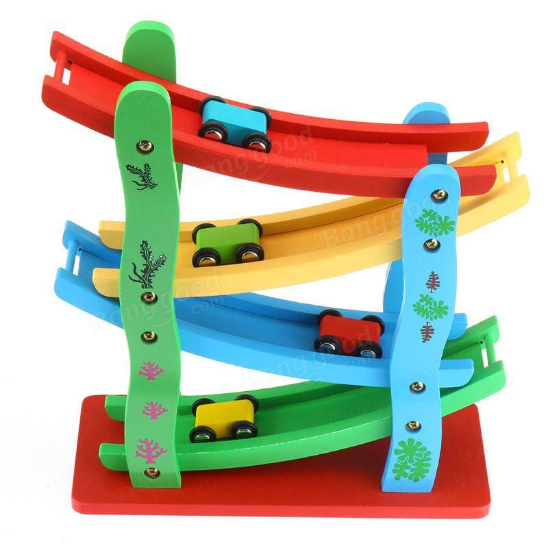 Wooden Ladder Flying Car Wood Slot Track Car Slide Model Toys For Kids Children Christmas Gift