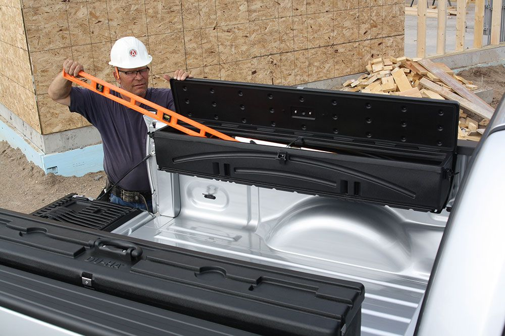 the duha humpstor side mount tool box installs over the wheel well and can