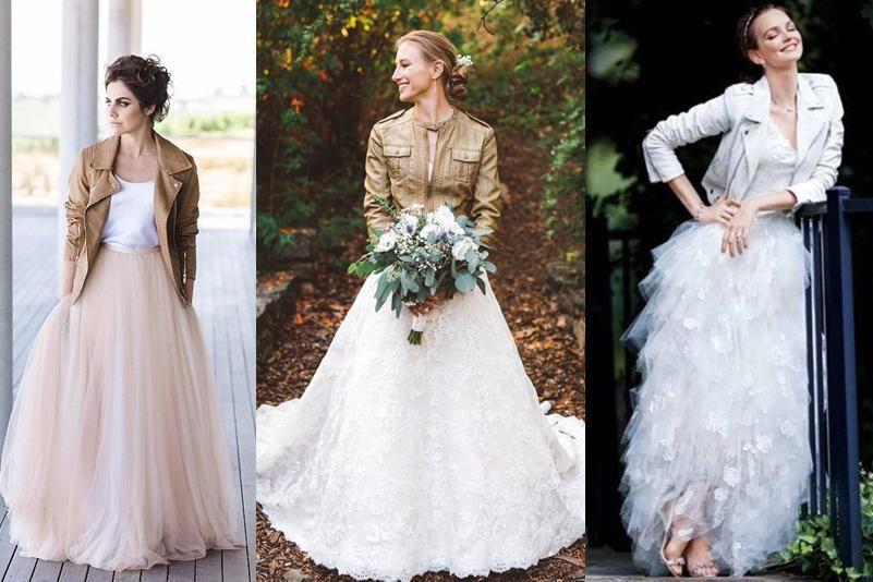 vestidos de novia ¿con chaquetas de cuero? | chamarras | pinterest
