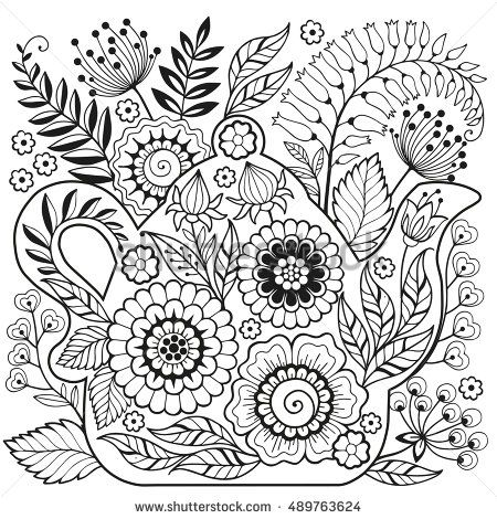 Teapot Coloring Page For Adults Meditation And Relax Ornate Flowers Teatime