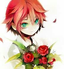 Red Hair Flowers Roses Blue Green Eyes With Images Anime