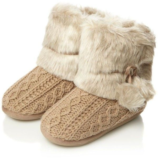 Beige cable knitted faux fur boot slippers ($32) ❤ liked on Polyvore