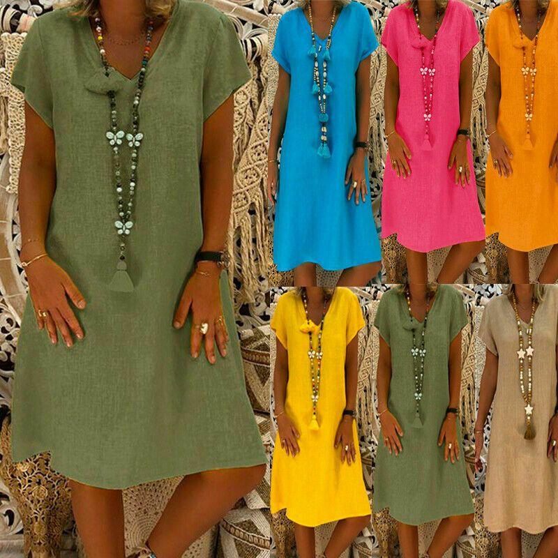 Übergröße Damen Kaftan Kleid Boho Sommerkleid Minikleid Lang Shirtkleid Tunika