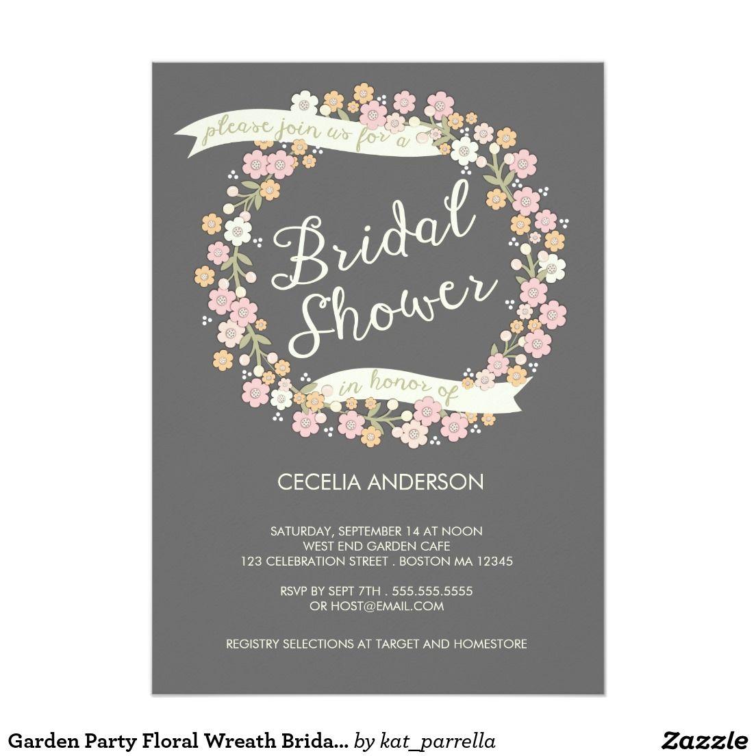 Garden party floral wreath bridal shower blush card floral wreath garden party floral wreath bridal shower blush 5 x 7 invitation card stopboris Choice Image