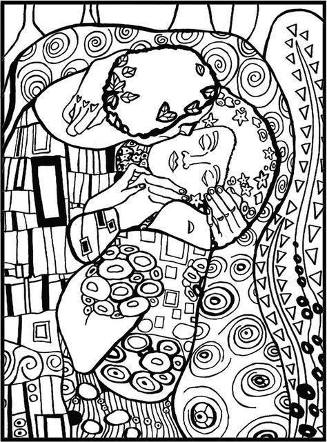 Klimt El Beso Disegni Da Colorare Astratti Arte Di Bambino