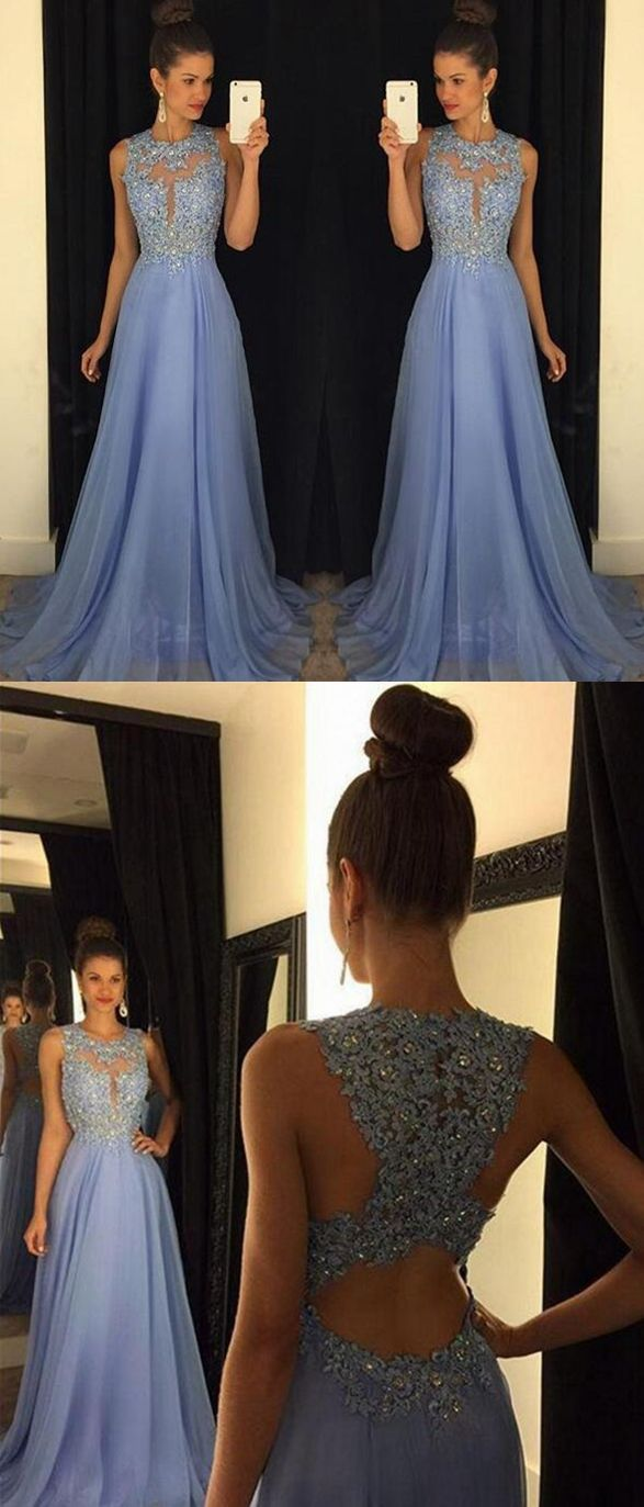 Sky blue a line prom dresses tulle skirt lace bodice pst prom