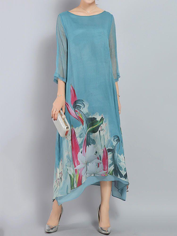 1204b2619bb99d Only US 33.99 shop elegant women printed loose irregular hem dresses at  Banggood.com. Buy fashion floral dresses online. - Banggood Mobile
