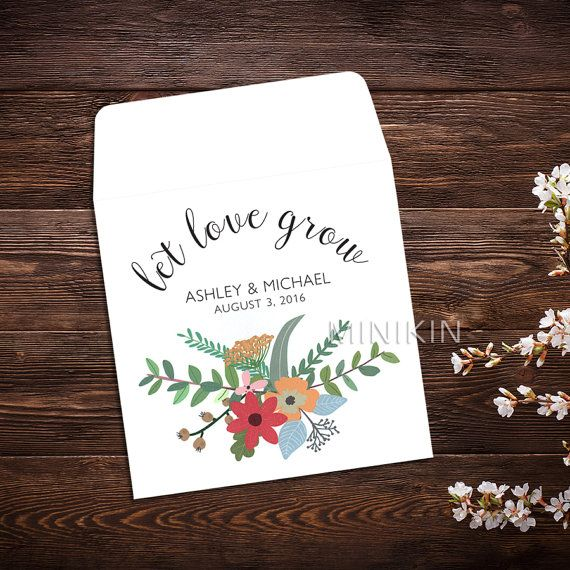 Personalized Seed Packet Favor Let Love Grow Wedding Boho Chic Wildflower Seeds X 25