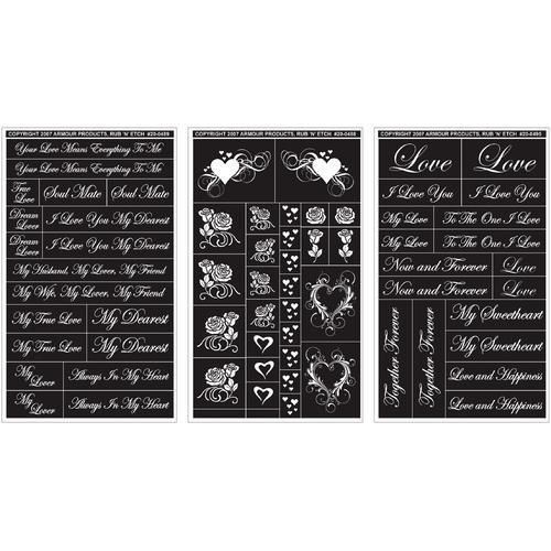 Armour Rub N Etch Glass Etching Stencils 5 X8 3 Pkg Romantic Moments Glass Etching Stencils Stencils Glass Etching Projects