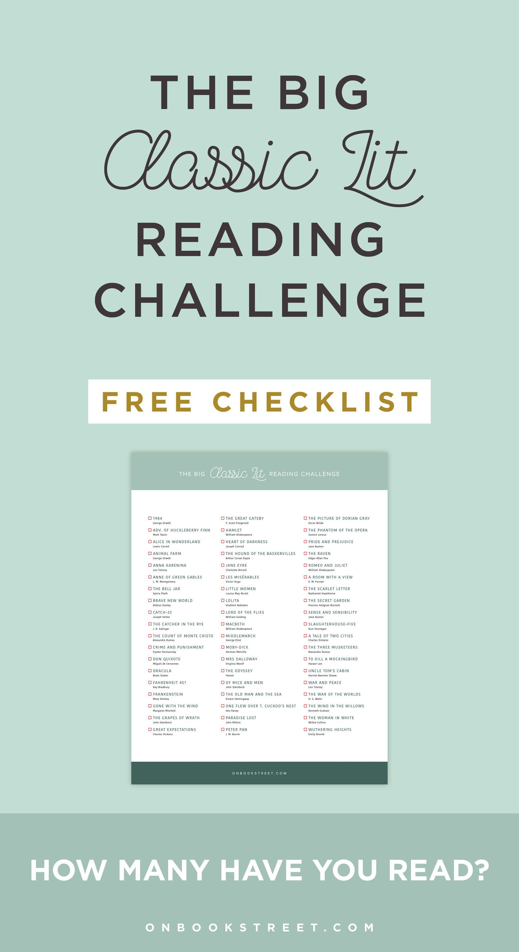 The Big Classic Literature Reading Challenge Download The Free Checklist How Many Ha In 2020 Reading Challenge Books To Read Before You Die Classic Literature Books