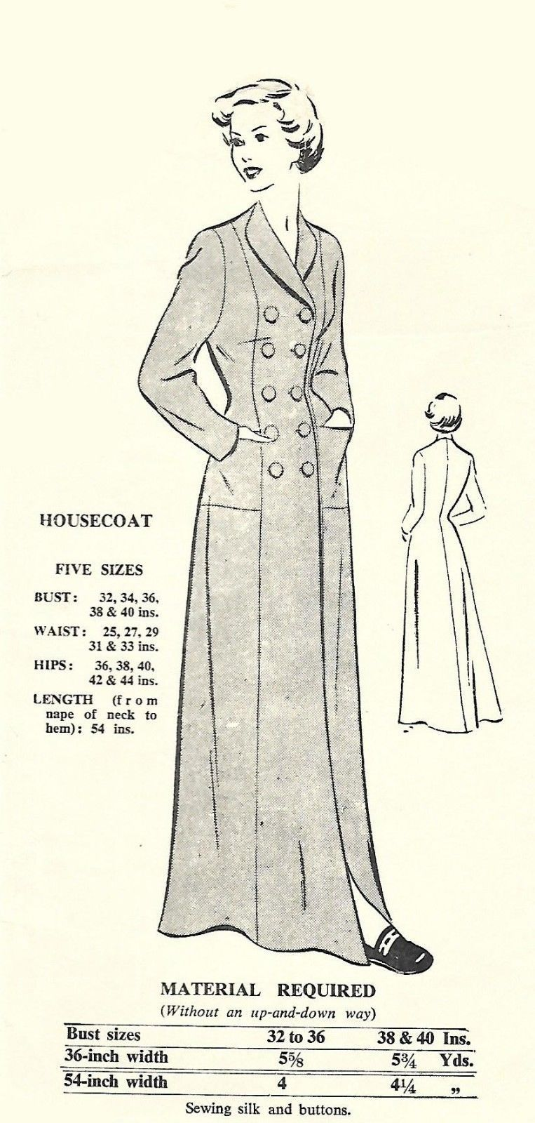 1950 S Vintage Sewing Pattern Women S Dressing Gown Housecoat Robe Bust 36 Ebay Vintage Sewing Patterns Womens Sewing Patterns Vintage Sewing