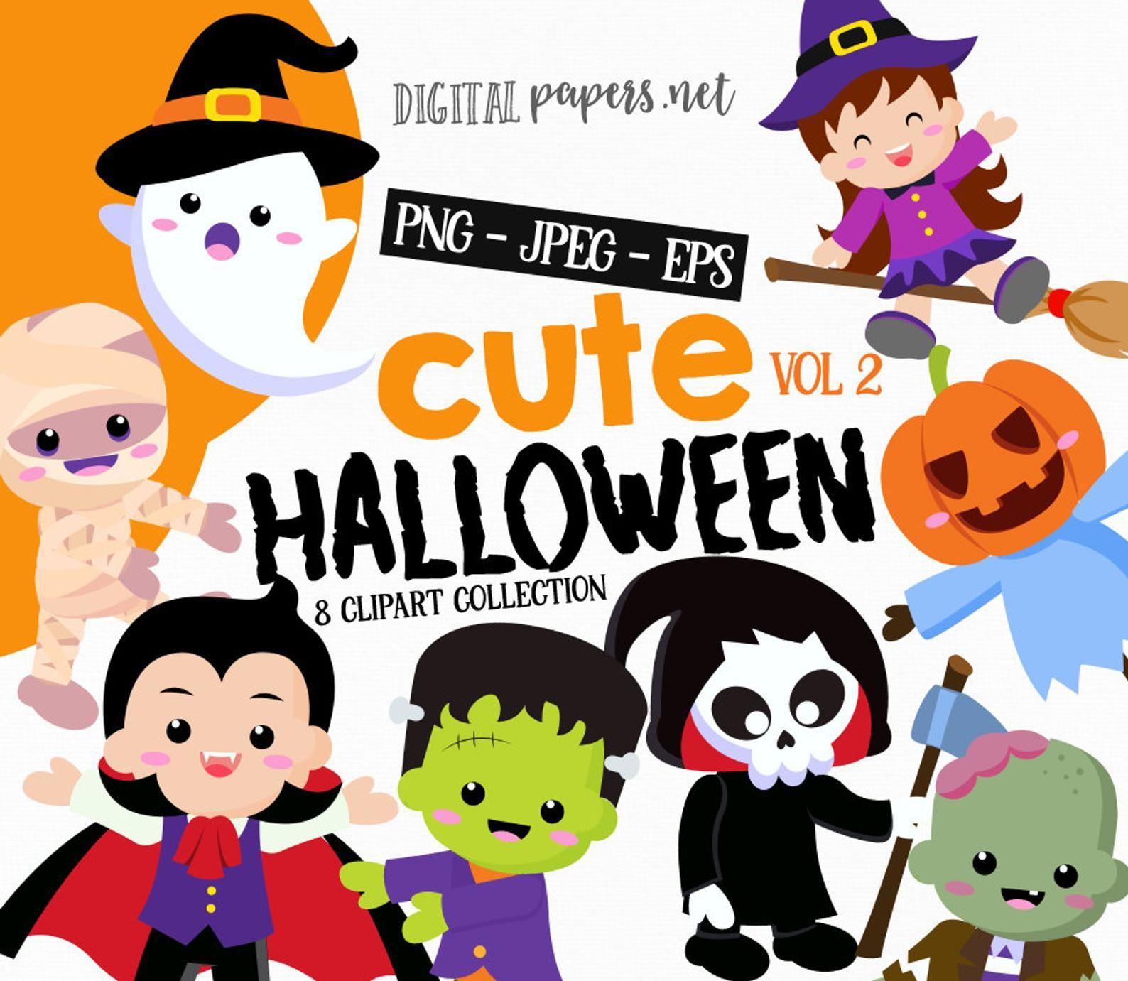 Halloween Cute Clipart Halloween Birthday Party Png Clipart Etsy Birthday Halloween Party Halloween Birthday Cute Clipart
