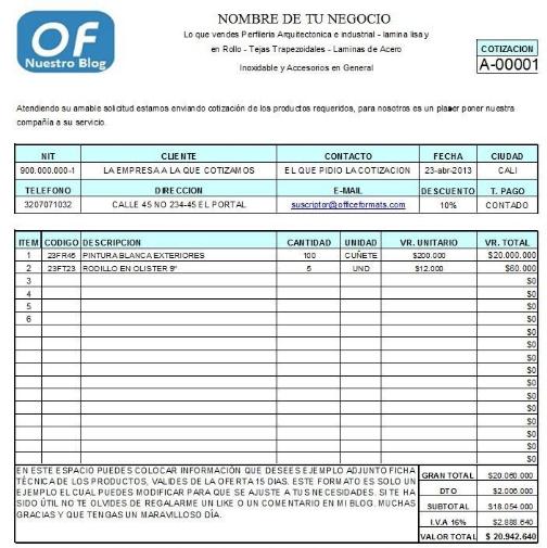 Resultado De Imagen Para Formato De Cotizacion En Excel Cotizacion Formato Presupuesto Excel Hojas De Presupuesto