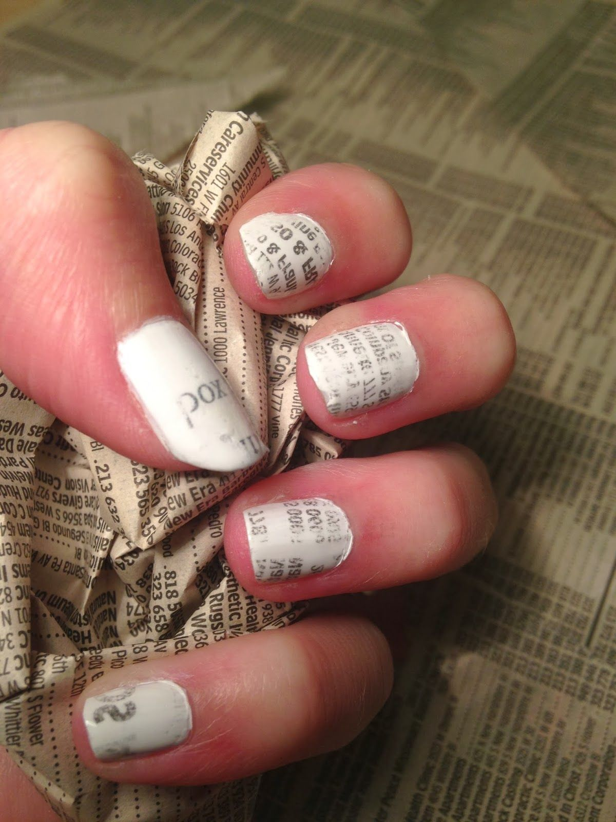 DIY Newspaper Nail Art for $2!   Blog Projects Completed   Pinterest ...