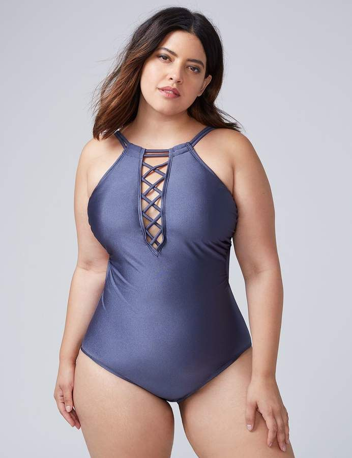 9d9e60dd58be Lane Bryant Shimmer Swim One Piece with Criss-Cross Front | Products ...