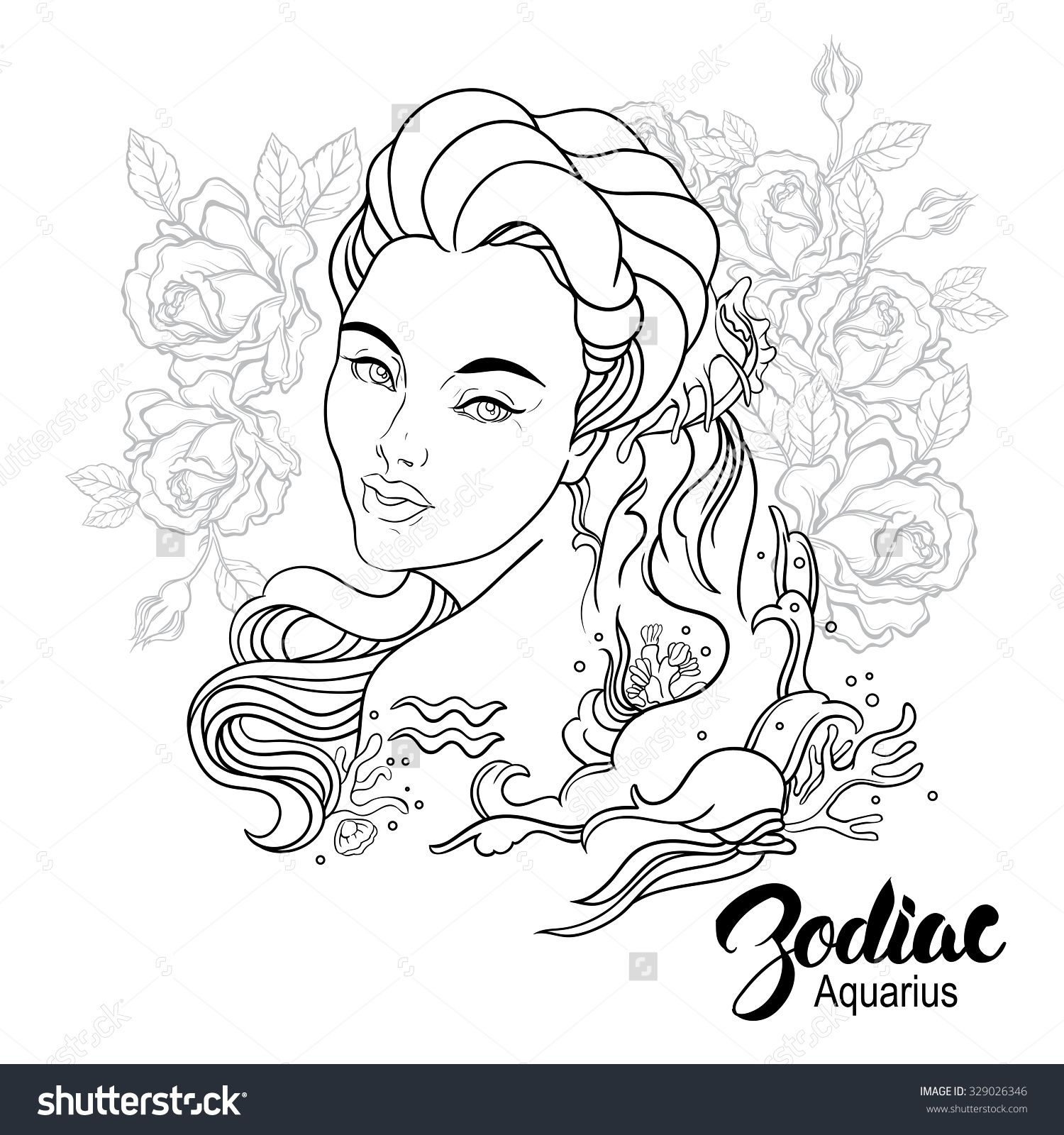 Stock Photo Zodiac Illustration Of Aquarius As Girl With Flowers