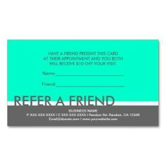 Teal Gray Simple Refer A Friend Cards Business Cards