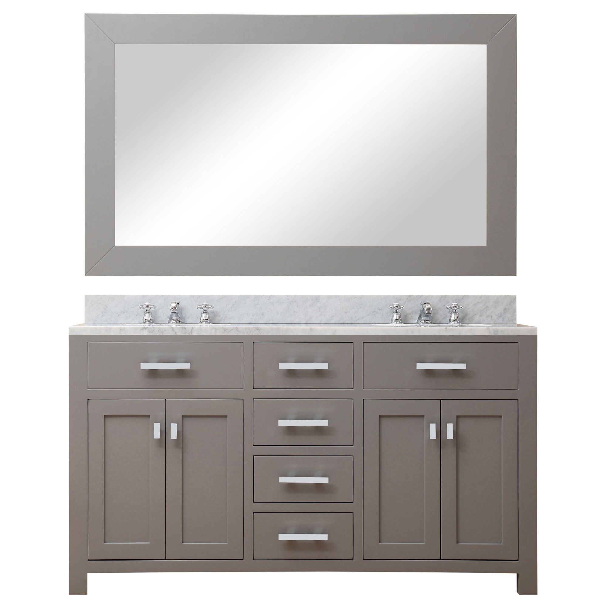 Photo of Water Creation 60″ Cashmere Grey Double Sink Bathroom Vanity with Matching Framed Mirror and Faucet From The Madison Collection MADISON60GBF