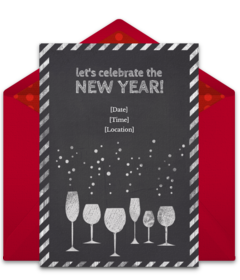 A collection of FREE New Year's Eve party invitations. We love this design for a lively NYE cocktail party. A digital template that's easy to personalize and send online for free.