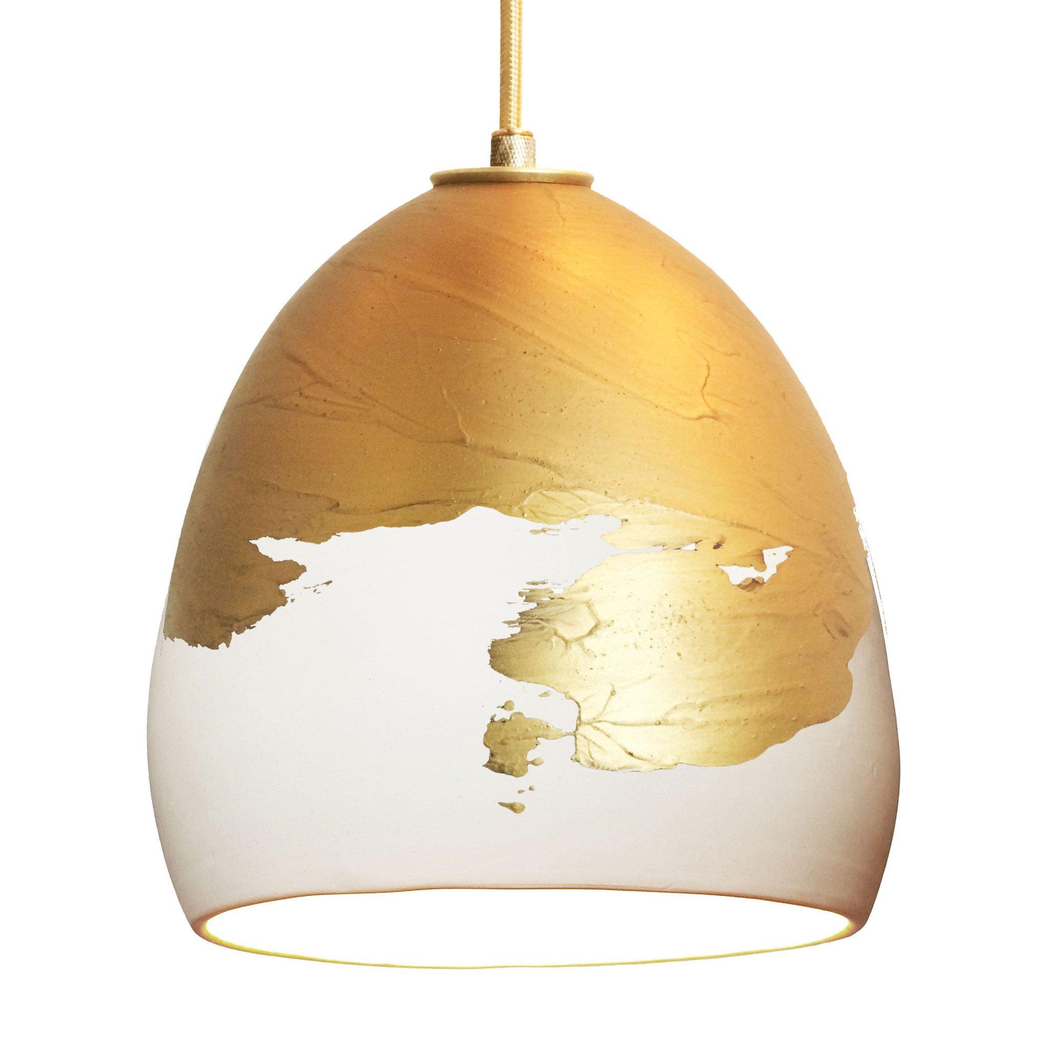 Metallic ombre brass u white porcelain round globe clay pendant