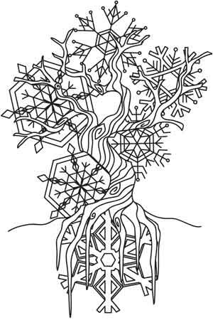 The Winter Tree Steampunk Coloring Winter Trees Coloring Pages