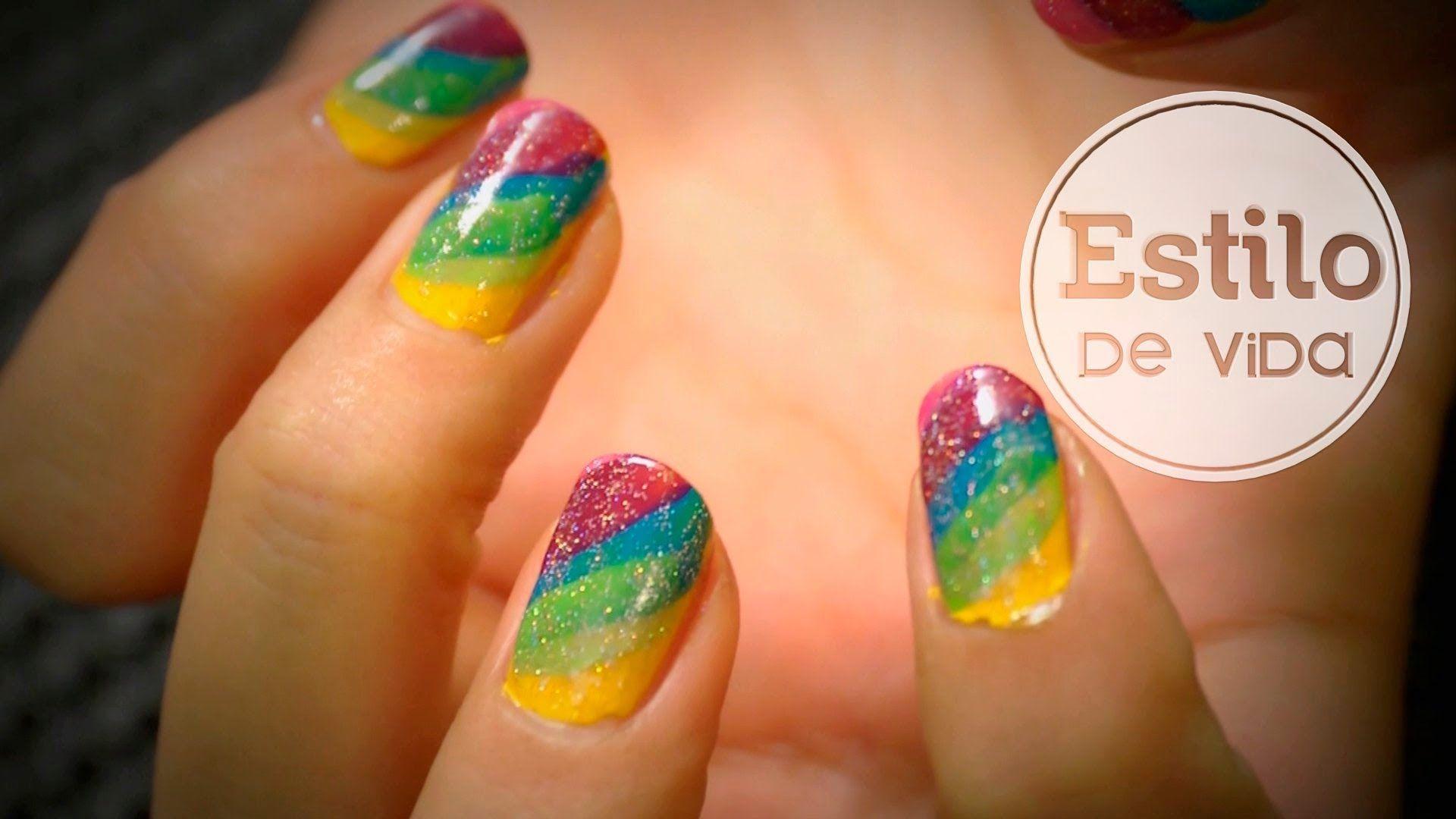 Diseño de uñas arcoíris | Manicura fácil de Carnaval | NAIL ART ...