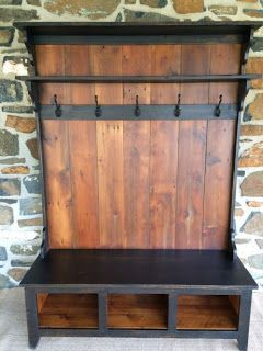 Entryway Coat Rack And Bench Made From Pallets Wood Projects Woodworking Projects Barnwood Furniture