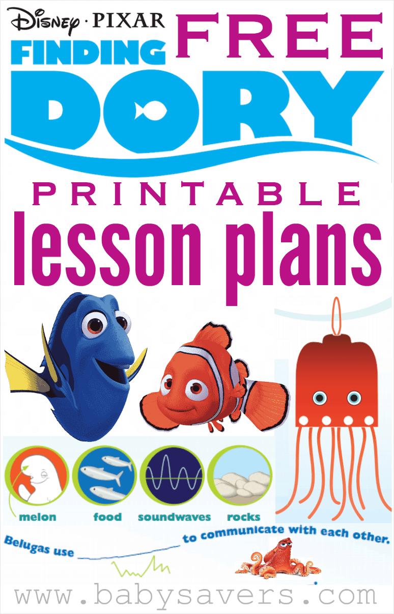 Finding Dory Lesson Plans For Teachers Or Parents Lesson Plans For Toddlers Teacher Lesson Plans Disney Lessons