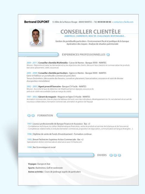 Modèle CV Original Conseiller Clientèle camdidature Pinterest