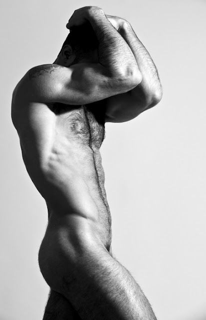 """incognitomen: """" Eliad Cohen looking hot and hairy in black & white at Incognito Men. """""""