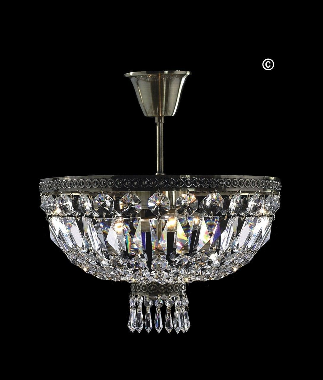 French Basket Crystal Chandelier Direct To Ceiling Flush Mount Anique Bronze Finish 8 Led Lights Available In Swarovski Or Diamond Cut