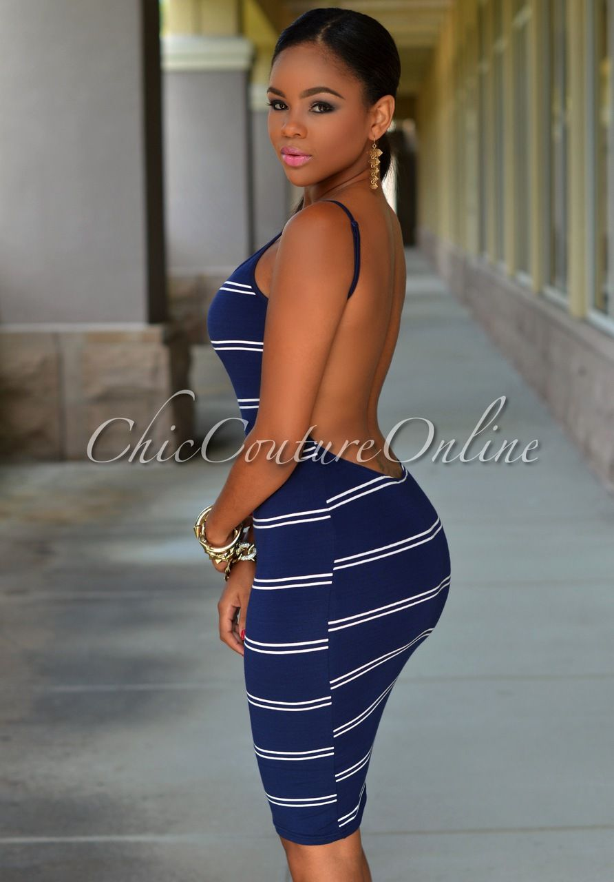 Chic Couture Online - Kimbella Navy-Blue White Stripes Daring Back Dress, (http://www.chiccoutureonline.com/kimbella-navy-blue-white-stripes-daring-back-dress/)