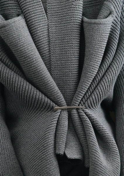 Grey Gathered Knit - fabric manipulation; textiles; draping; knitwear; close up fashion detail