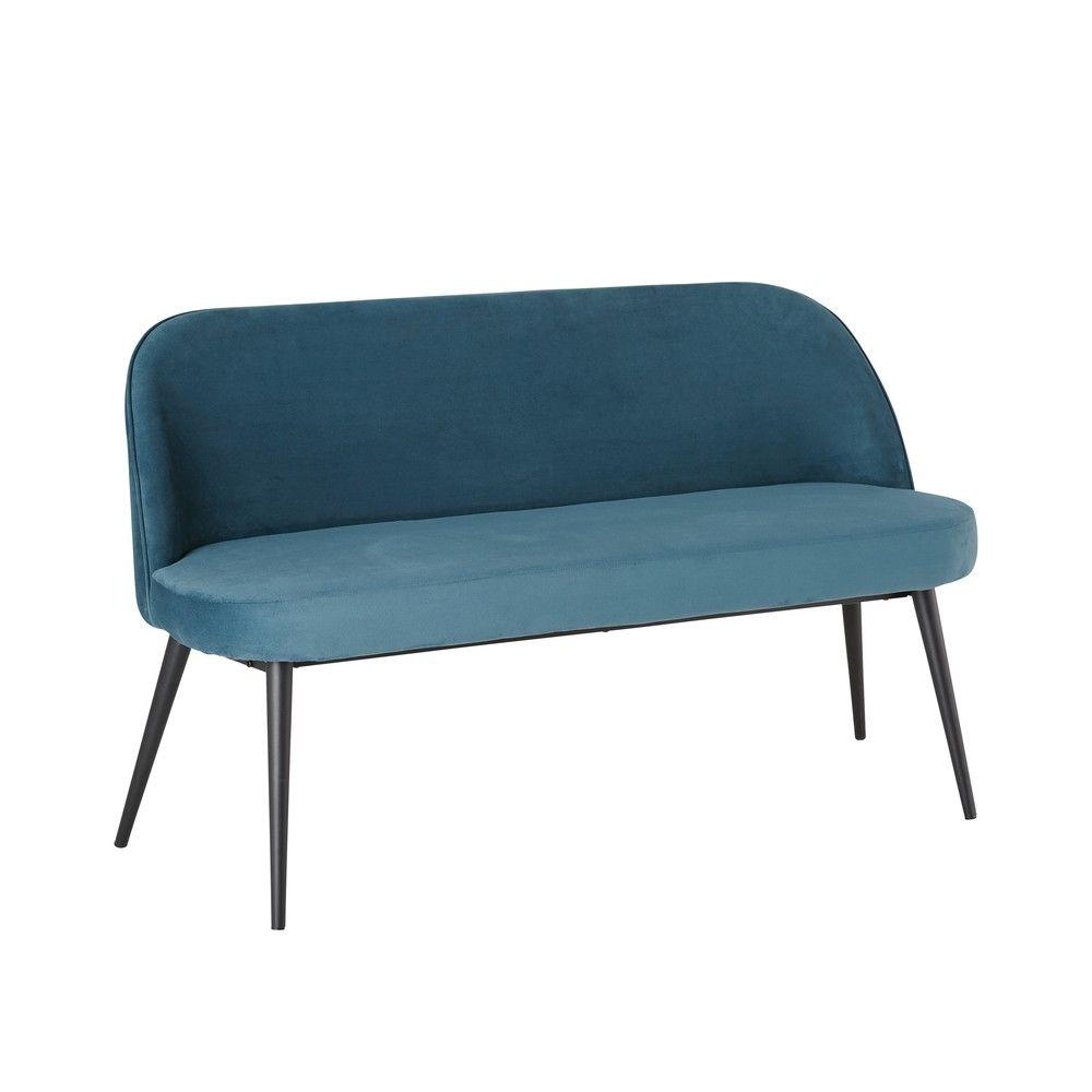 3 Sitzer Vintage Polsterbank Mit Blauem Samtbezug Maisons Du Monde Velluto Blu Divano Velluto Velluto