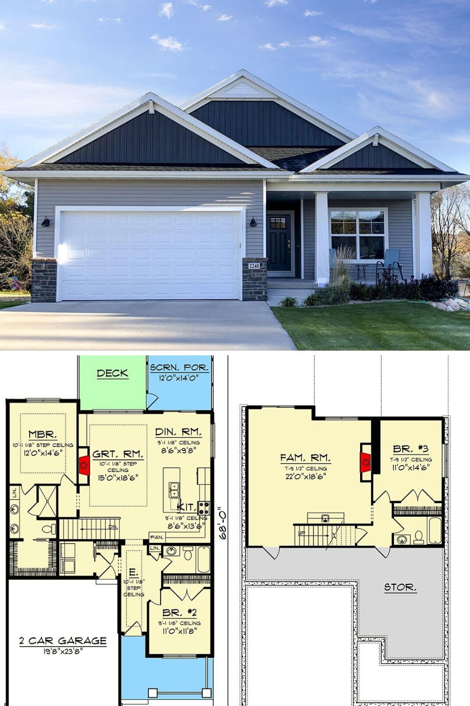 Single Story 3 Bedroom Craftsman Home Floor Plan In 2020 Sloping Lot House Plan Craftsman Bungalow House Plans Narrow Lot House Plans