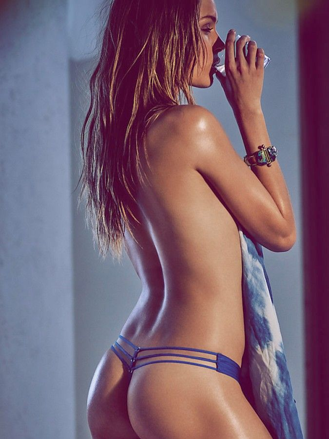 Josephine Skriver Oiled Up And Wearing Thongs For Victorias Secret