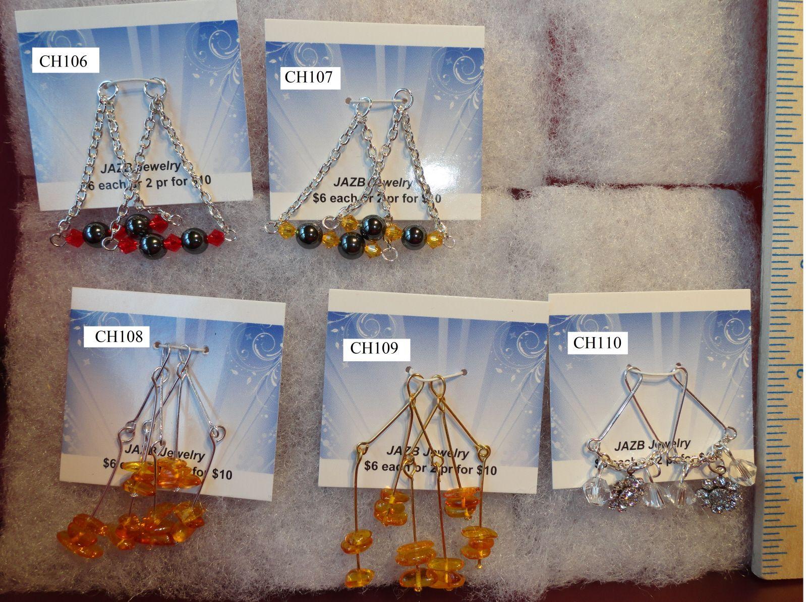 $5 www.jazbjewelry.com hematite chandelier Amber chandelier Paua Shell chandelier