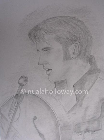 """""""Elvis '68"""" by Nuala Holloway - Pencil on Paper (Commission) As featured in the music biography """"Elvis and Ireland"""" by Ivor Casey - Available to buy now on Amazon #Elvis #ElvisandIreland #IrishArtist"""