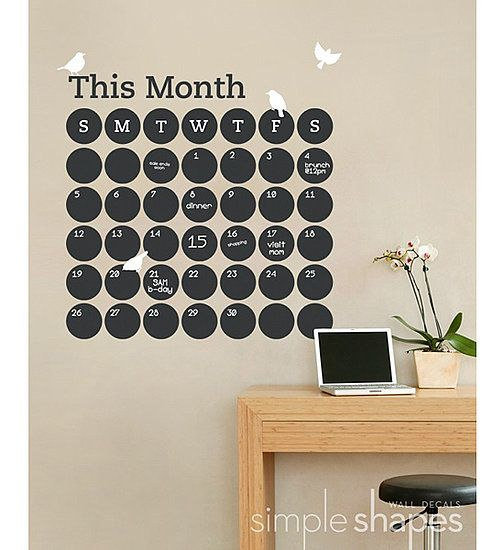 How cool is this dot chalkboard wall calendar it will keep your family on track