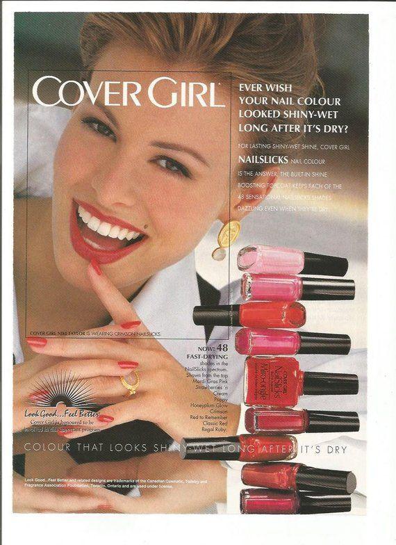 Items similar to 1993 Advertisement Cover Girl Niki Taylor Model Nailslicks Nail Colour Polish Makeup Cosmetics 90s Beauty Supermodel Wall Art Decor on Etsy