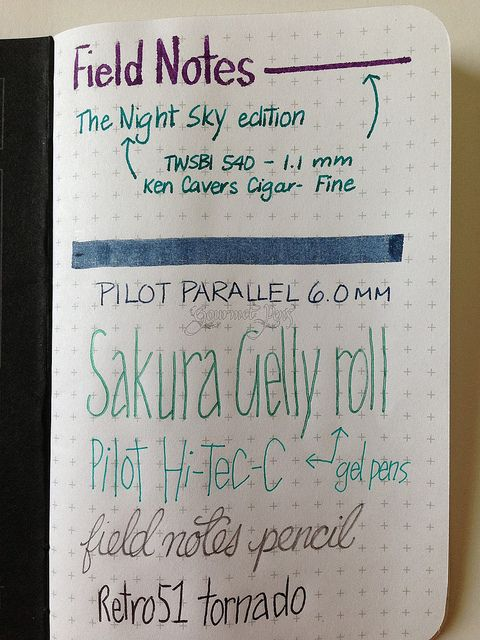 Field Notes Night Sky Writing Sample Paper \ Planners - sample notes