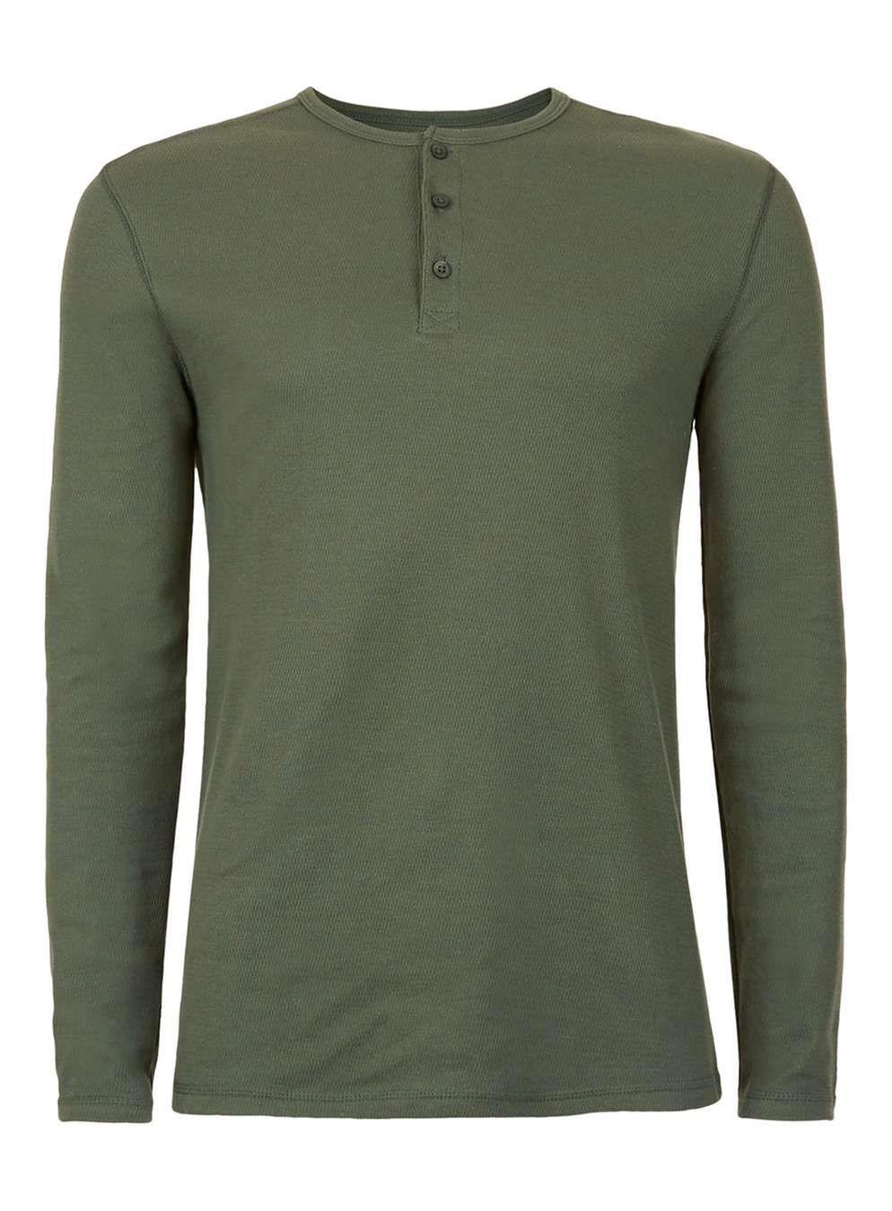 Khaki Textured Grandad Collar Long Sleeve T-Shirt - T-shirts & Tanks - Clothing - TOPMAN USA