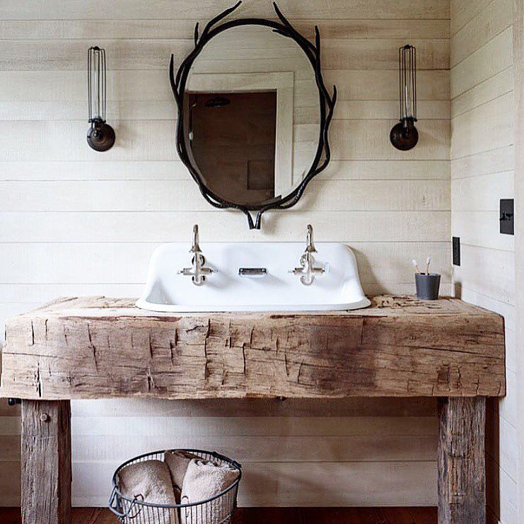 383 Likes 9 Comments Interior Design Home Decor Rustic Meets Modern On Instagram F Rustic Bathrooms Bathroom Farmhouse Style Rustic Bathroom Vanities