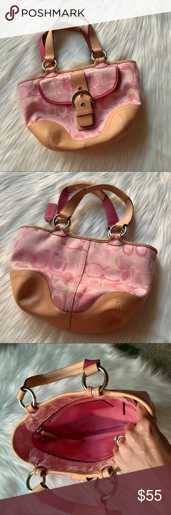57a2b1bec71 Coach Small Pink Signature Purse. Pink PursesTan LeatherCoach BagsAnd ...