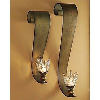 Set Of 2 Ribbon Swirl Sconces From Seventh Avenue Metal Candle Wall Sconces Sconces Wall Candles